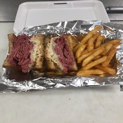 Seasoned roast beef sandwich and French fries